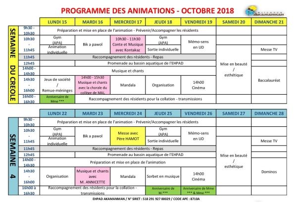 ANIMATIONS MOIS OCTOBRE 2018 EHPAD AKAMANMAN