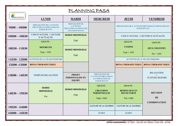 Planning du PASA